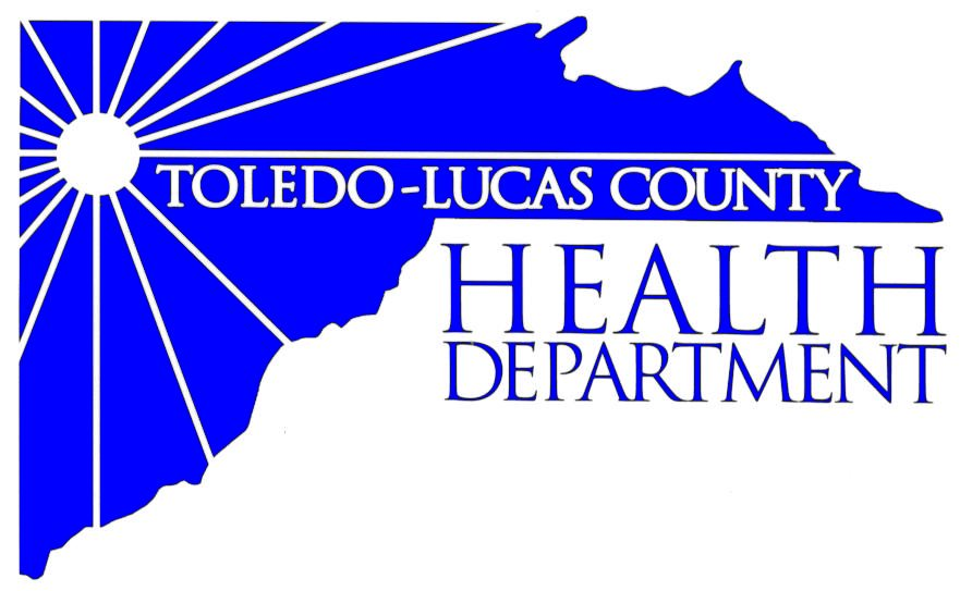 "Blue and white logo that reads ""Toledo-Lucas County Health Department."""