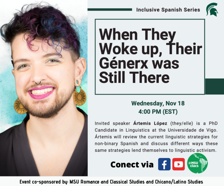 """THIRD EVENT in the Inclusive Spanish Series, Nov 18: """"When they woke up, their génerx was still there""""."""