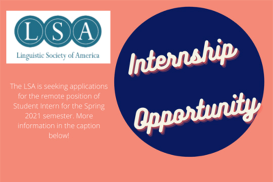 INTERNSHIP OPPORTUNITY with the Linguistic Society of America.
