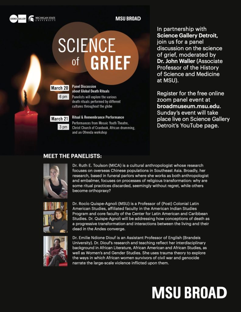 Flyer for the MSU Broad Science of Grief event, March 20th at 6pm and March 21st at 3pm